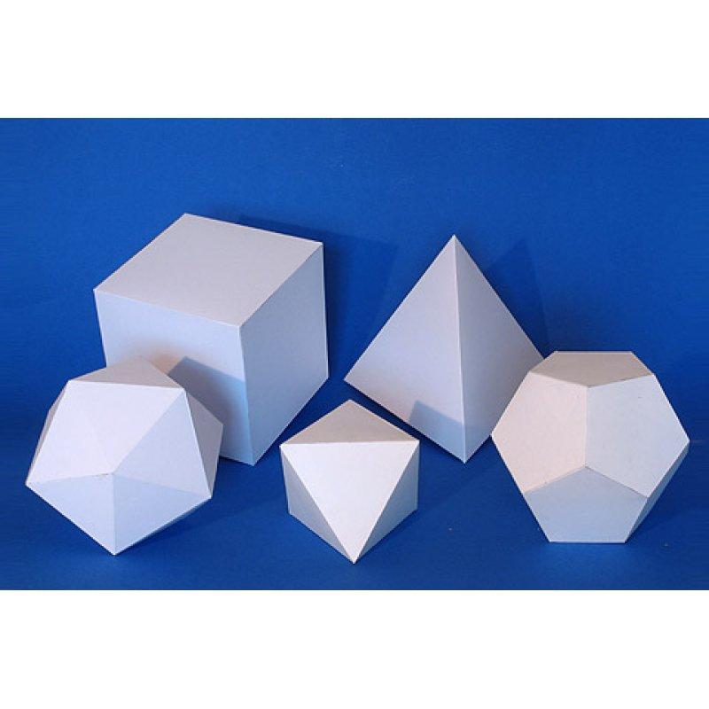 Bastelvorlage Platonische Körper Komplettsatz aus Karton